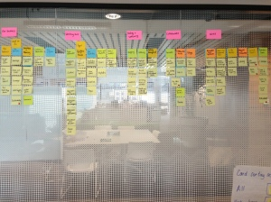 My huge glass design wall showing the information architecture a bit further along