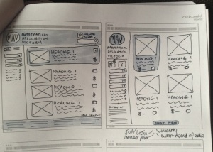 Freehand wireframe iterations